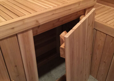 sauna with storage built by clarke construction projects