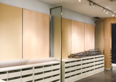 retail store wall with drawers built by Clarke Construction Projects
