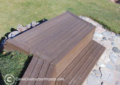 custom built wood bench