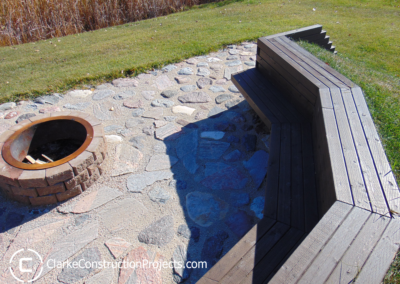 fire pit and patio buiilt into the ground