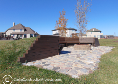 fire pit seating area in-ground built by clarke construction projects