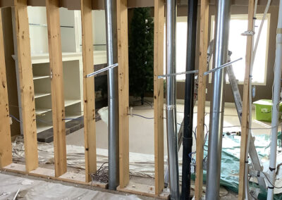 Create an open concept floor plan by removing interior walls