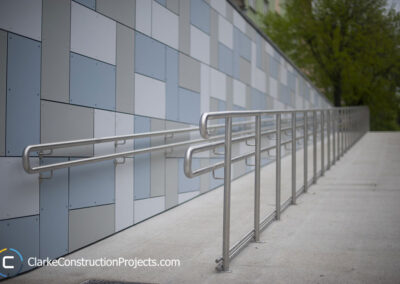 wheelchair ramp, concrete and aluminum, Clarke Construction Projects